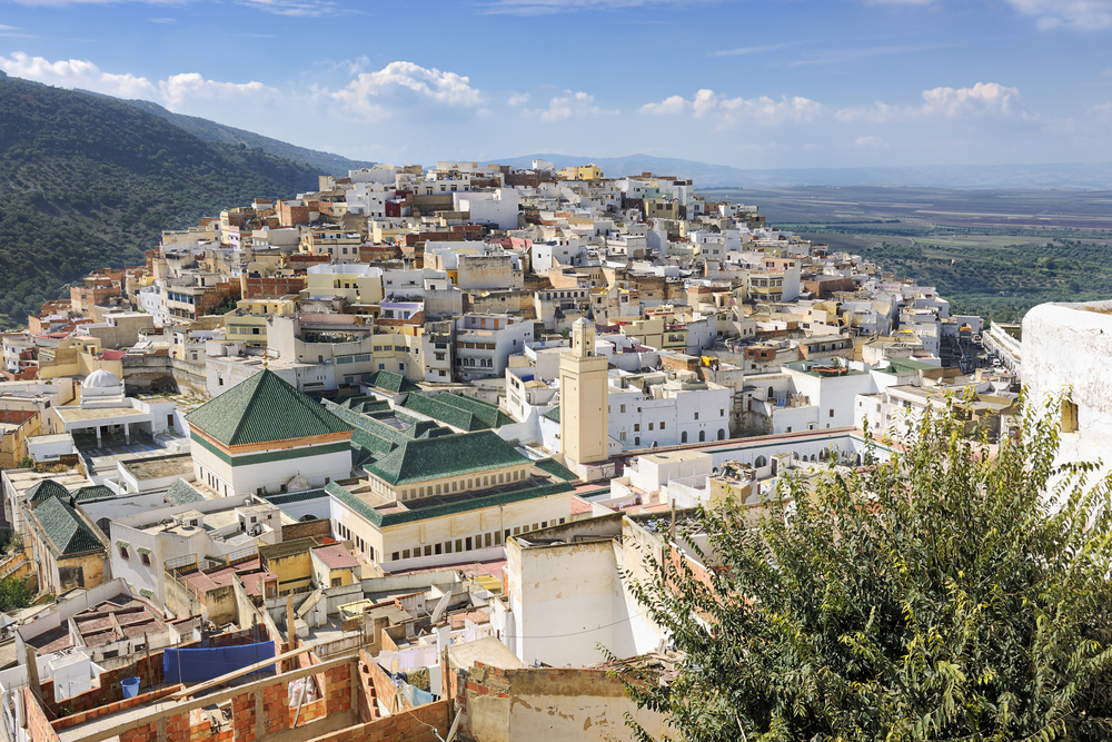 Aerial view over Moulay Idriss